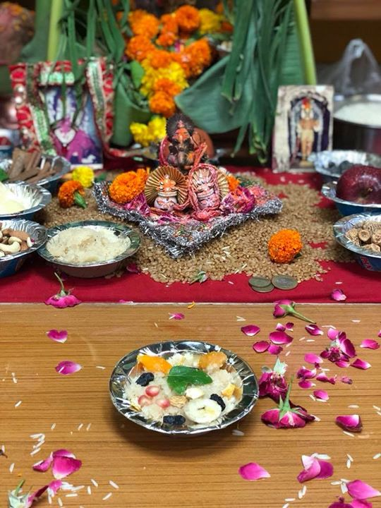 Count blessings not calories. Prashad made with Rawa, milk, ghee and sugar And topped with fruits, nuts and tulsi leaves gives you peace.  Tip : moderation is the key.  #prasad #mahaprasad #blessings #pooja