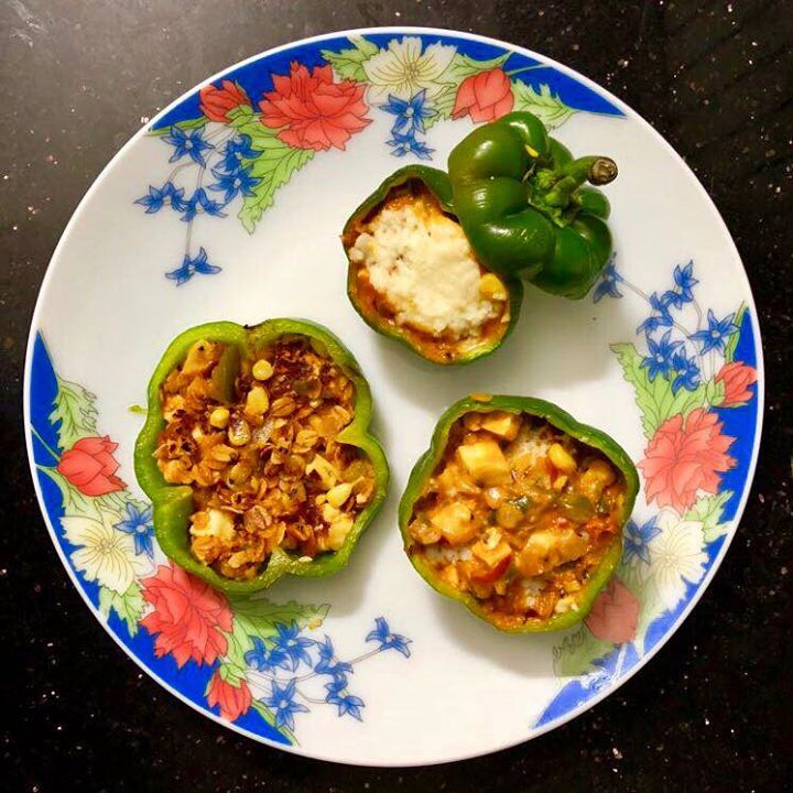 Capsicums, available in a multitude of colours, are an excellent source of vitamins A and C. This versatile vegetable can be stuffed, roasted, used in stir-fries or simply eaten raw. I have made simply stuffed capsicum as a snack. Stuffed with Onions 🍅 tomato Bell peppers  🌽 corn Paneer  Oats  Simple and quick recipe for healthy snack  #snacks #kidssnack #tiffinideas #healthytiffin #kidshealth #nutrition #stuffedcapsicum #capsicum