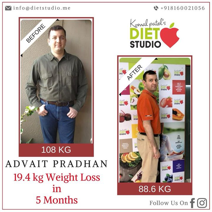 Our client Advait Pradhan,35 yrs, with 9 hrs of working time tried to manage healthy lifestyle and lost 19.4 kg.  His target is still to lose fat. A diet plan need not always be complex or boring. A simple scientific approach towards nutrition can ensure weight loss as well as take care of the daily nutritional requirements. #fatloss #weightloss #dietplan #dietclinic #healthylifestyle #weightlossjourney #weightlossgoals