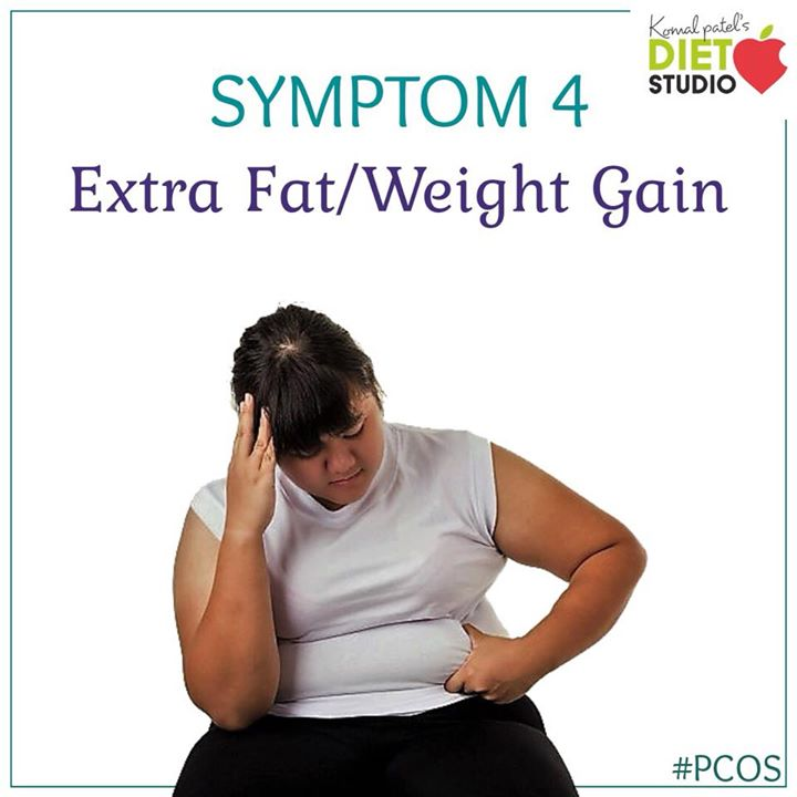 About half of women with PCOS will have weight gain and obesity that is difficult to manage. This PCOS symptom is often caused by high levels of androgens coupled with insulin resistance and a reduced BMR.  #pcos #pcoslife #symptoms #weightgain #fatgain #fats