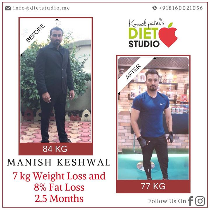 It's not only women who demands for fat loss, its men as well...  Manish Keshwal enrolled diet studio with the target of fat loss...  Manish with his busy schedules tried to maintain the diet plan we worked as well as was particular with his workouts....  So far his journey to get back in shape has been incredible! In 2.5 months - He has lost 7 kgs weight and killed 8%of his fat .... Still much to go his target is 13-14 % fat  It was 26% fat when we started and now it's 18%.. All the best Manish for your health goals ... #WeightLossSuccessStory #BodyTransformation #WeightLoss #dietstudio #dietplan #diet #fatloss @manishkeshwala