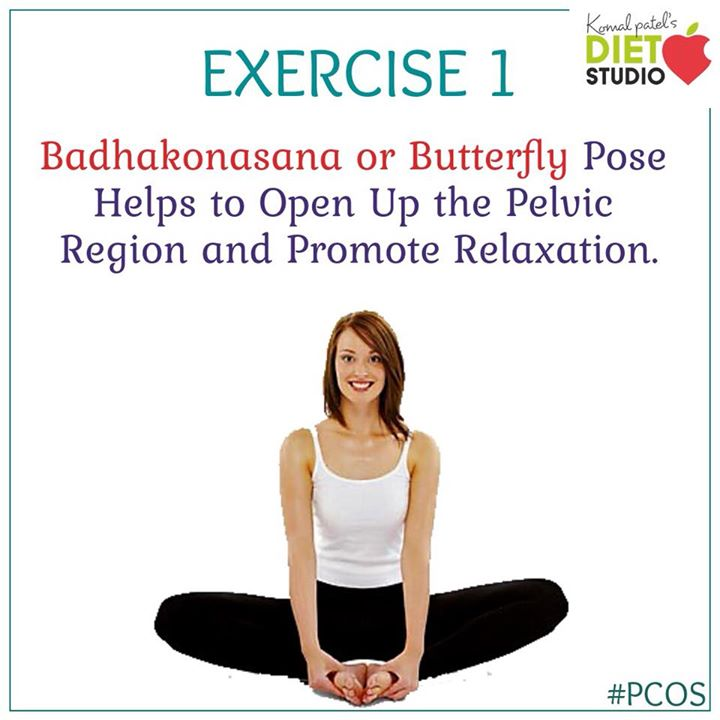 Badhakonasana or Butterfly pose is a simple and easy to do yoga pose that works wonderfully for natural PCOS treatment.  #pcos #pcosexercise #exercise #yoga #asan #pose #butterflypose