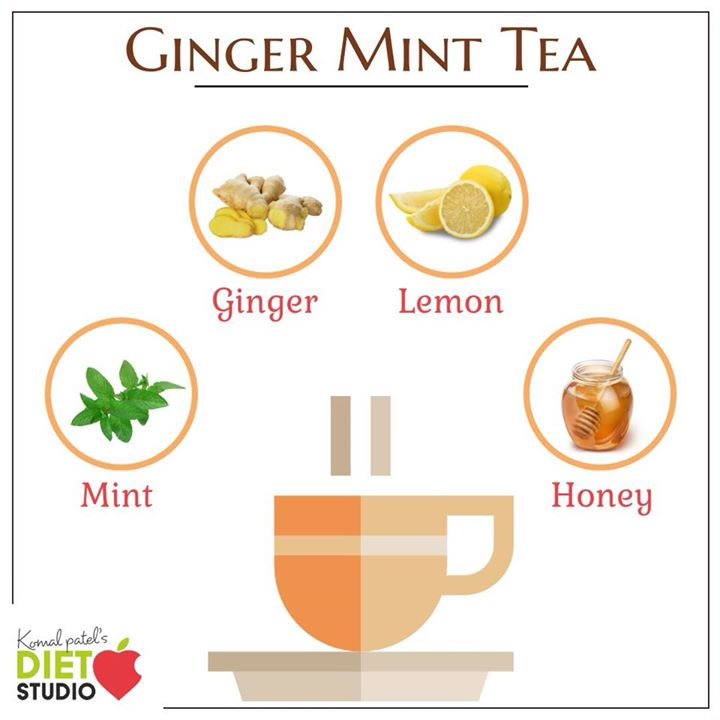 Ginger mint tea helps relieve stomachache, upset tummies, and bloating caused by overeating.  #ginger #mint #tea #herbaltea #benefits