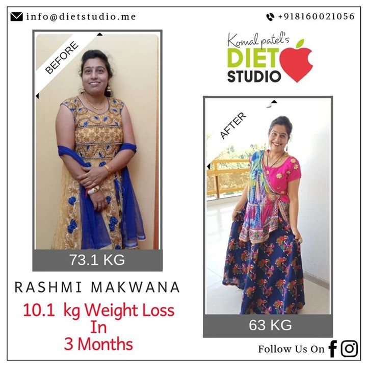 Here's our new transformation story. Rashmi came to us determined to shed those extra kilos in an attempt to live a healthier, disease free life and managed to shed 10kg in 3 months. We are glad to see her happy and achieving her health goals.  All the best Rashmi  #transformation #weightloss #weight #diet #dietplan #dietclinic #komalpatel #dietitian #clinic #weightlossdiet #fat #fit #fattofit