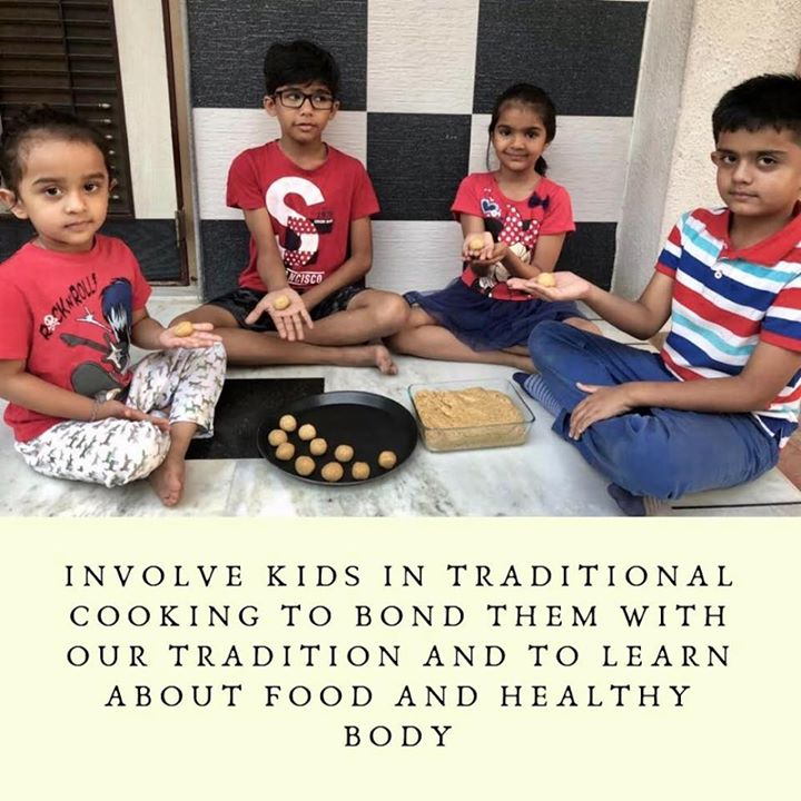 Involve your kids in making ladoos or any cooking for that matter. This way you would make them learn bonding between food and healthy body. #health #healthykids #kidshealth #ladoos #traditionalcooking #kids #bonding #food #diwali #diwalipreperation #cooking