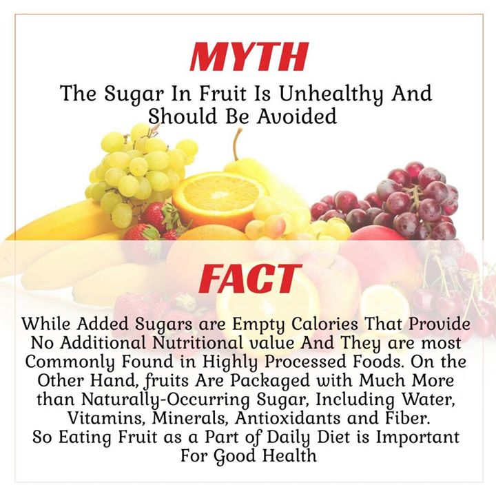 The sugar in fruit is unhealthy  Do you even think the same? #myth #fact #fruit #fruitsugar #sugars