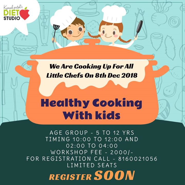 Register soon.......  Looking for some fun cooking for kids. Then sign them up for the delightful cooking workshop.  Our goal is to teach kids some health practices, making them learn their plate, some interesting recipes and games.  Healthy cooking with kids registration is open now...  for registration clink on the link below  https://goo.gl/forms/8GcqPLaNmQn5Xadg1 #kids #healthykids #workshop #kidsworkshop #cooking #healthyrecipes #dietstudio