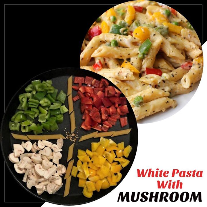 Dinner for tonight  White pasta with bell pepper and mushroom  #dinner #pasta #whitepasta #mushroom