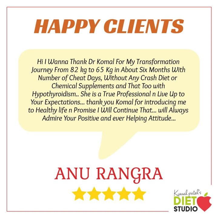 Happy client What really matters is self-motivation and a feeling of responsibility from within to eat the right foods, eat in moderation, drink water the right way, and be happy  #happyclient #weightloss #fatloss #inchloss #happy #selfmotivation #eatright #eatsmart #clients #komalpatel #dietstudio #dietitian #nutrition