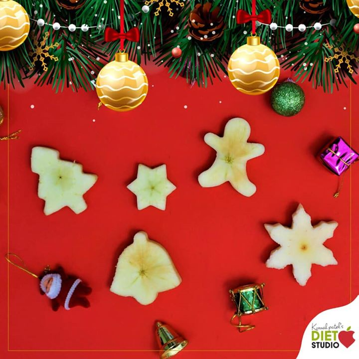 The Key to Creativity Could Be Eating Your Fruits and that too seasonal fruits... This apple cuttings are of different shapes of Christmas essentials  #fruits #funwithfruits #banana #seasonalfruits