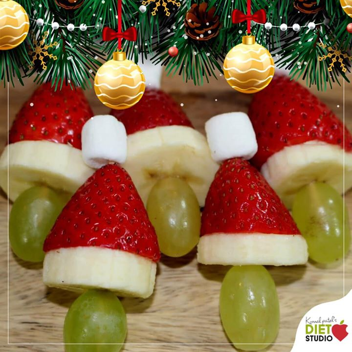 The Key to Creativity Could Be Eating Your Fruits and that too seasonal fruits... This strawberry Santa's are made with banana and grapes  #fruits #funwithfruits #banana #seasonalfruits
