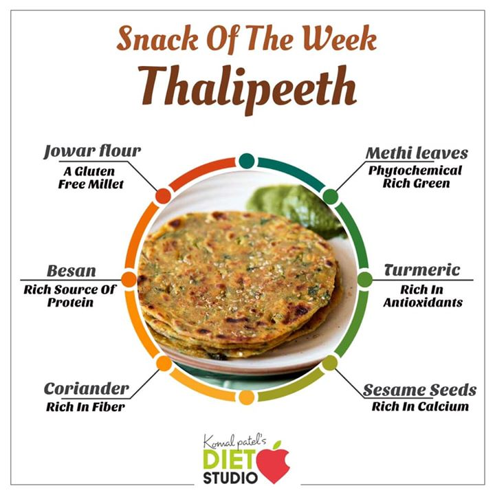Snack of the week  Thalipeeth is a type of savoury multi-grain pancake popular in India. thalipeeth is a powerhouse of nutrition.  #thalipeeth #snack #breakfast #nutrition