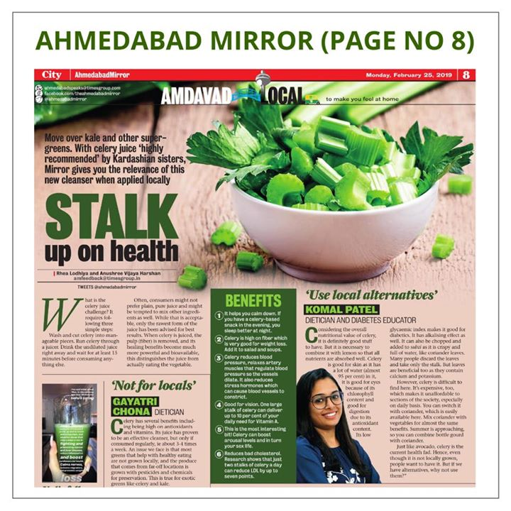 My article in Ahmedabad mirror  An article which says local food or alternatives can also be taken when it comes to healthy eating.  #ahmedabadmirror #times #article #komalpatel #dietitian #diabeticeducator