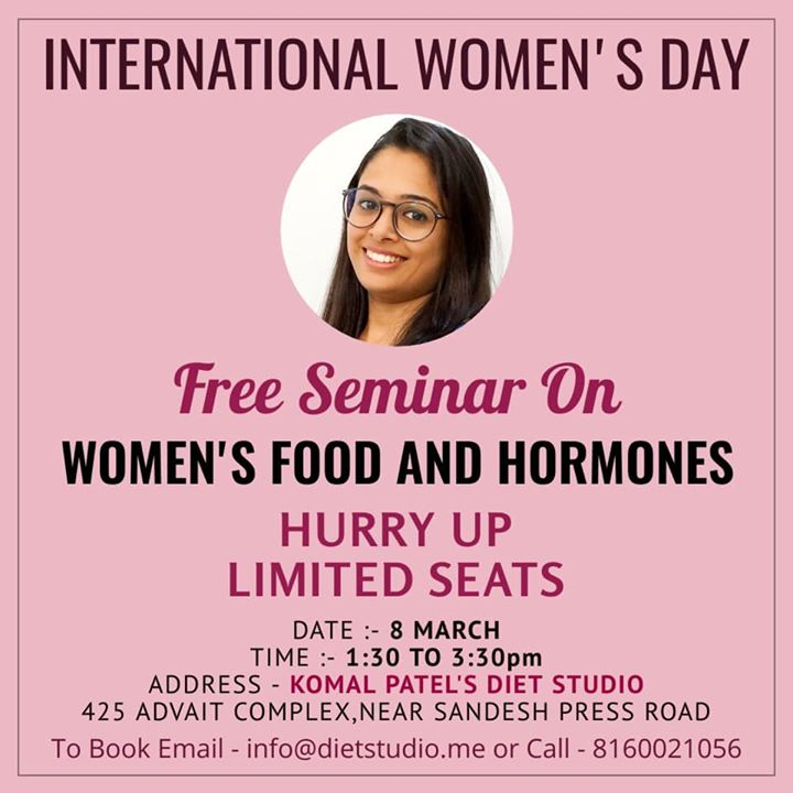 Last few days  This women's day you all are cordially invited for a great seminar to learn about our body, hormones and food...  register now  Only limited seats...  Give a day for understanding your health.  #womens #womendsday #womenshealth #seminar