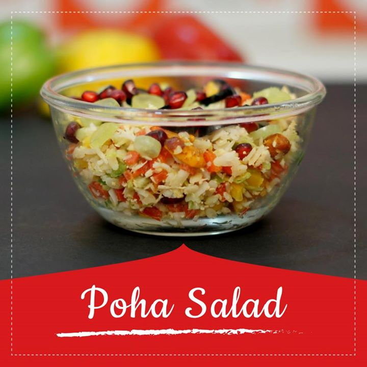 Poha salad is a unique and quick recipe with soaked poha tossed with  veggies coconut, sesame seeds and peanuts and garnished with seasonal fruits  #poha #pohasalad #salad #healthysalad #healthyrecipe #diet #dietrecipe