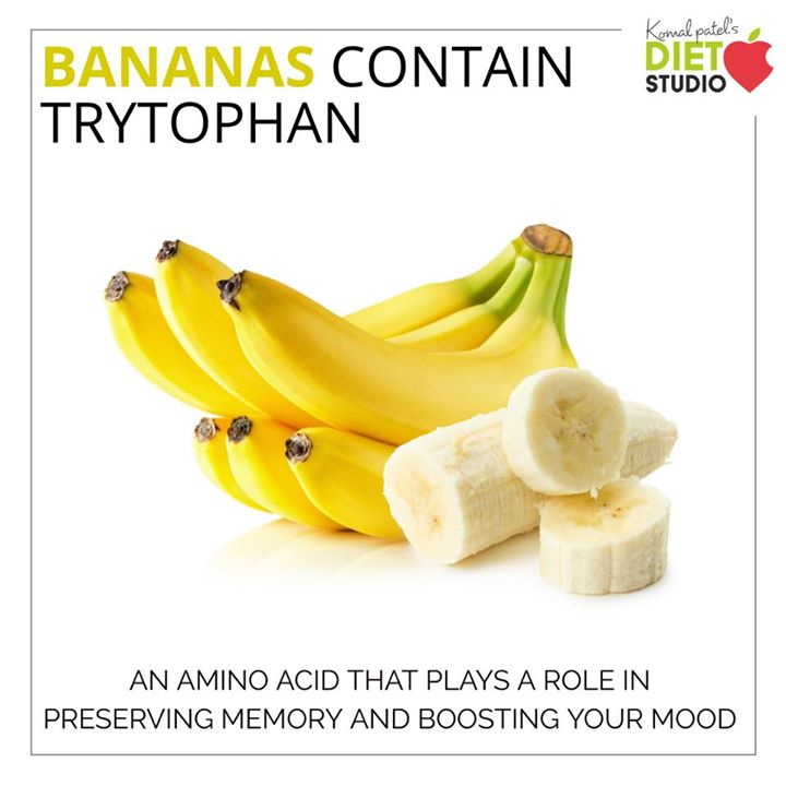 Banana contain the amino acid L-tryptophan, which gets converted to 5-HTP in the brain. The 5-HTP in turn is converted to serotonin (a relaxing neurotransmitter) and melatonin. #banana #trytophan #seasonalfruit #neurotransmitter #neurons #healthybody