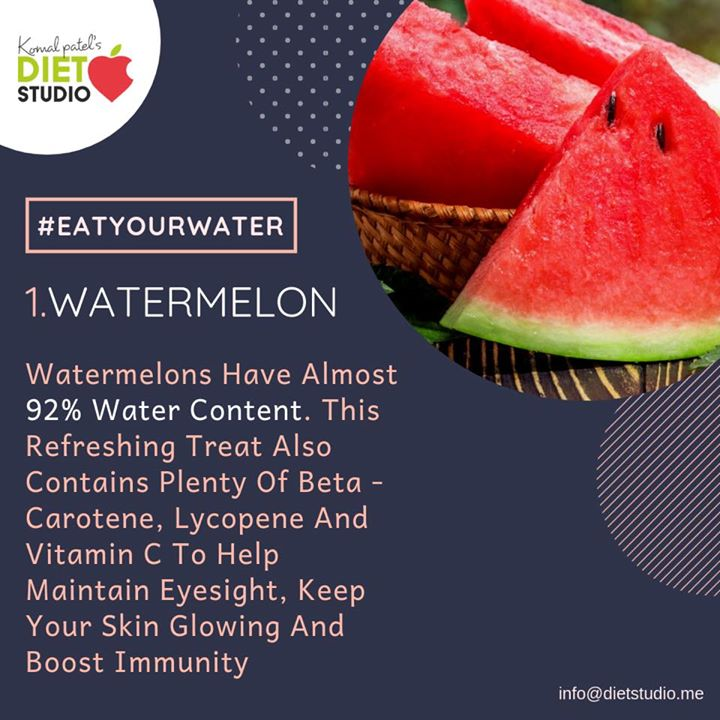 Experts generally recommend drinking several glasses of water per day to meet your hydration needs. But while drinking water is very important, you can also get it from foods. There are many healthy foods that can contribute a large amount of water to your diet #diet #healthy #healthyfood #food #summerfood #waterfoods