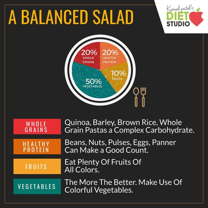 A large salad can be served as a meal all by itself.  All you require is to balance it with all the nutrients. #diet #healthyeating #eatingclean #cleaneating #health #healthyfood #food #recipes #healthyrecipes #fit #fitness #lifestyle #healthylifestyle #lifestylechange #goodfood #goodvibes #dietitian #komalpatel #nutrition #nutrionist #ahmedabad #dietclinic #weightmanagment #weightloss #fatloss #healthfirst #balancediet #balancedfood #cooking #dietplan #lifeofdietitian #healthicon