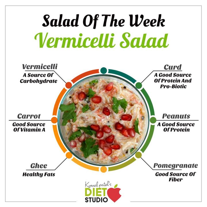 #saladoftheweek  Vermicelli salad is a dish made of vermicelli and curd / yogurt. In this recipe, cooked vermicelli is mixed with seasoned curd and optionally garnished with sweet pomegranate seeds. Curd has numerous health benefits. It cools down the heat in stomach after eating spicy food. Curd consumption strengthens the immune system.  #salad #vermicelli #vermicellisalad #healthyrecipe