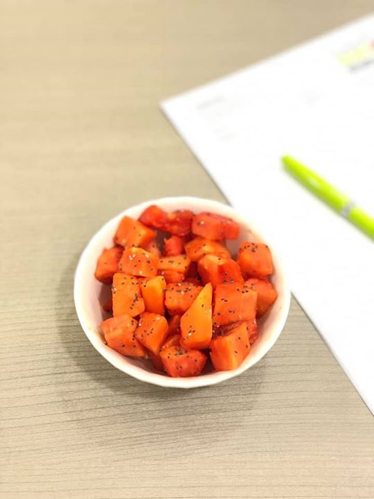 Time to switch from mango to some other fruit  Fruit for the day as my mid morning meal.  Papaya with some chia seeds  Rich in vitamin A and C which helps rejuvenate skin. Aids in digestion.   What is your fruit for the day ???? #fruit #seasonal #benefits #vitamins #meal