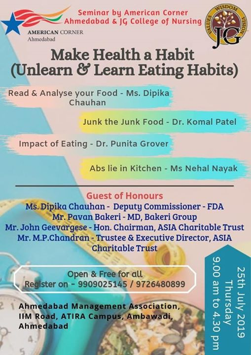 Make health a habit  A talk on  healthy eating  Analysing your food  Junk food and it's effect  And some interesting recipes which states Abs lie in kitchen.  A seminar by American corner and JG college.