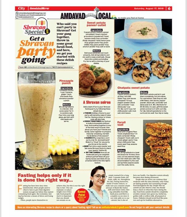 #shravan  Shravan special featured in #ahmedabadmirror #times  Fasting - An boon if done it in a right way.... #komalpatel #diet #dietitian #recipes #fastrecipes #fasting