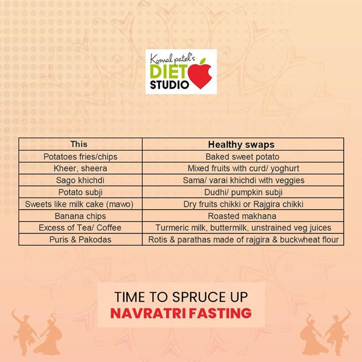 Navratri is all about fasting and detoxing the body by eating healthy and getting ready for the next seasonal change. This Navratri try out these health swaps to spruce up this Navratri  #navratri #healthyswap #healthyeating #navratrifast #detox #healthynavratri