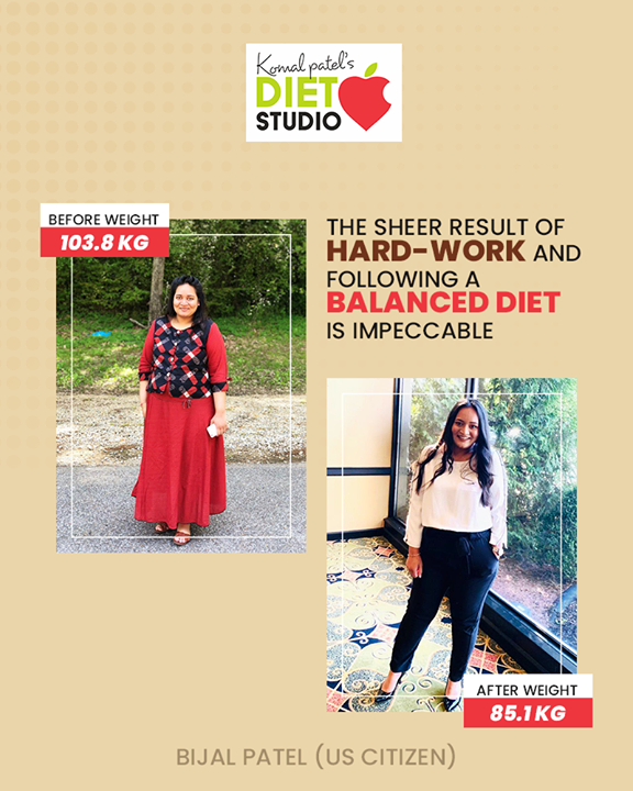 This is the result!  When she consulted us, she was 103.8 KG but with the help of our guidance and techniques, she has successfully climbed the ladder of transformation. If you too wish to meet the transformed & healthiest version of you, then connect us now!   #komalpatel #diet #goodfood #eathealthy #goodhealth