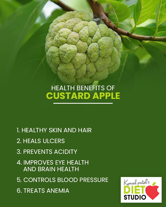 Health benefits of custard apple.  #komalpatel #diet #goodfood #eathealthy #goodhealth