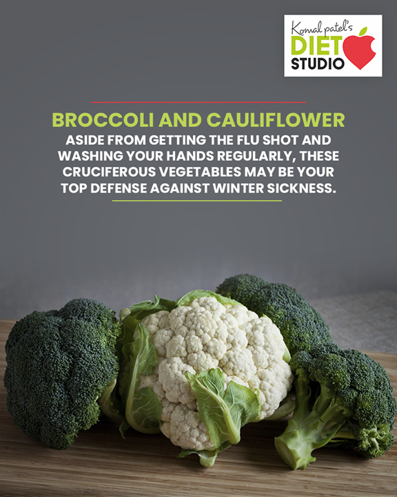 Aside from getting the flu shot and washing your hands regularly, these cruciferous vegetables may be your top defense against winter sickness. Broccoli and cauliflower are both high in vitamin C, which is associated with enhanced immune function. If you can't find fresh versions, don't fret — frozen broccoli and cauliflower are just as nutritious.  #komalpatel #diet #goodfood #eathealthy #goodhealth