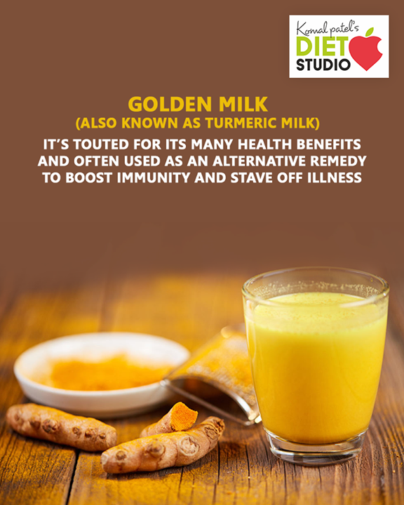Golden milk — also known as turmeric milk  It's touted for its many health benefits and often used as an alternative remedy to boost immunity and stave off illness.  #komalpatel #diet #goodfood #eathealthy #goodhealth