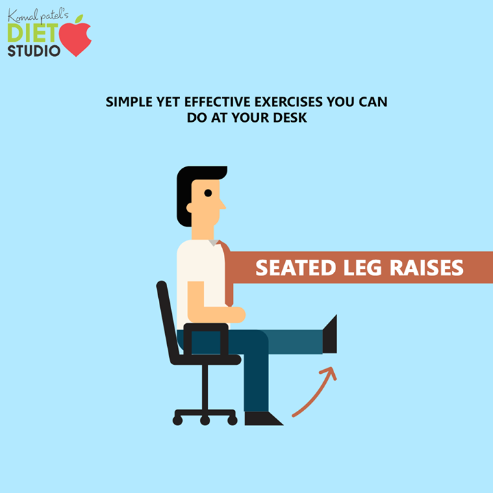 You can do these leg and abdominal exercises even when you're in a meeting or on a conference call without people noticing. Sit upright in your office chair. Straighten your left leg so that it is parallel to the floor and hold it in place for 10 seconds. Now, do the same thing with your right leg. Repeat both legs for 15 repetitions.  #komalpatel #diet #goodfood #eathealthy #goodhealth