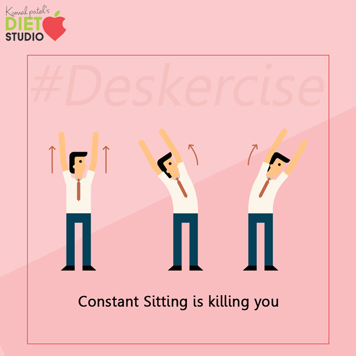 During your office hours, you are sitting for very long and it's a slow poison which is killing you slowly so take one minute for your body and do deskercise.    #Deskercise #komalpatel #diet #goodfood #eathealthy #goodhealth