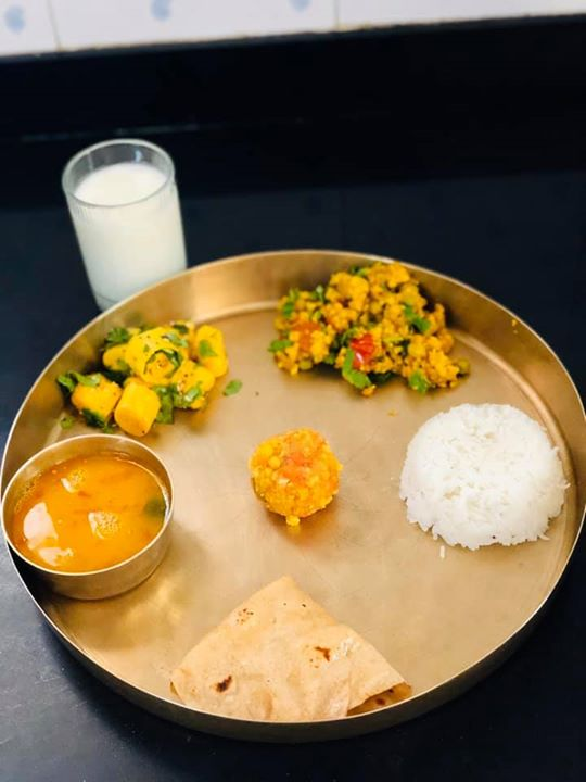 #navmiprasad  Khandvi Roti Rice Dal Bundi ladoo  Sabji  Buttermilk   Lunch for today  #kpmeal #lunchtime