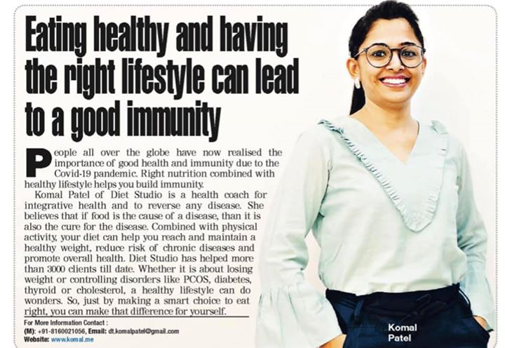 #vocalforlocal   This covid has taught us to build immunity but not only to fight this virus but any infection, disorders and proper health being.  A healthy lifestyle with balanced diet, exercise, proper sleep and good mental health makes a healthy body.  We are happy to help people achieve their health goal with scientific and holistic approach.  #komalpatel #dietitian #dietstudio #dietplan #healthylifestyle #healthyliving #nutrition #nutrionist #bestdietitianinindia #weightloss #pcos #diabetes #thyroid