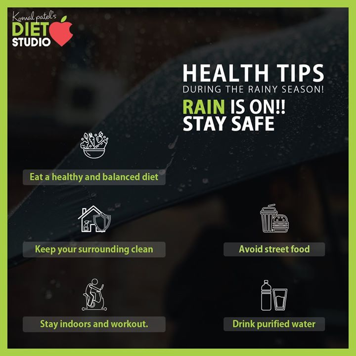 RAIN IS ON!! We must take precautions during the rainy season to stay healthy and happy. Here are some health tips for the rainy season which can protect yourself and your loved ones and make the weather even more enjoyable.  #komalpatel #onlineconsultation #dietitian #ahmedabad #dietclinic #dietplan #weightloss #pcos #diabetes #immunitydietplan