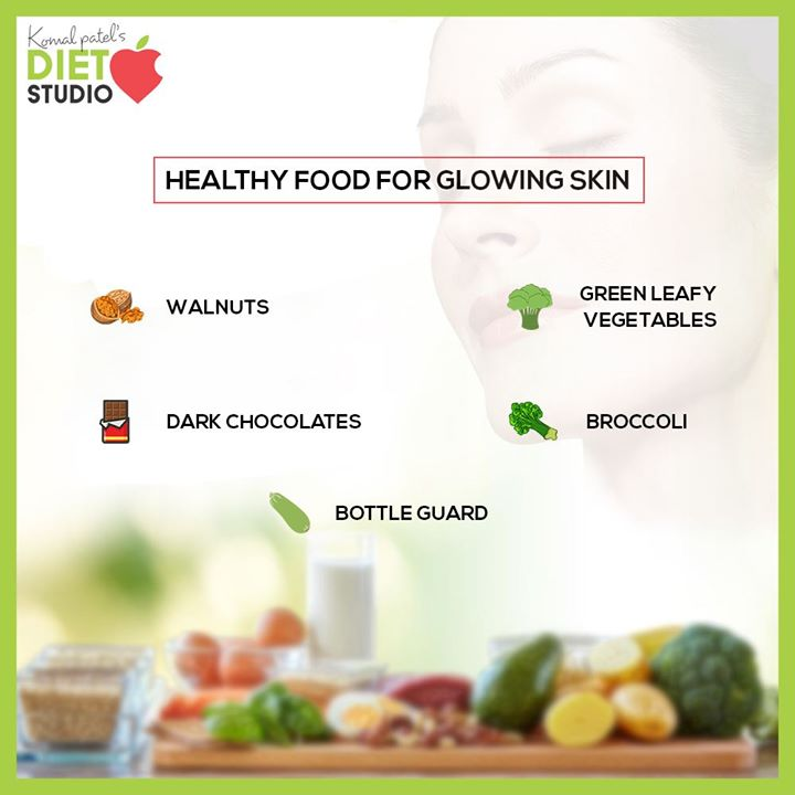 Beautiful Glowing Skin is the basis for any look. Most people treat their skin and hair with cosmetic products, but they don't address the root cause. Healthy food that includes all nutrients can make your skin and hair healthy. Here's a checklist of food items for your healthy-looking glowing skin.   #komalpatel #diet #goodfood #eathealthy #goodhealth