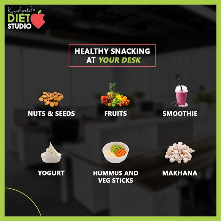 When it comes to snacking at your desk, you need to be conscious of the food choices you're making. Healthy food choices at the desk are key for sustained energy and productivity.  #komalpatel #diet #goodfood #eathealthy #goodhealth