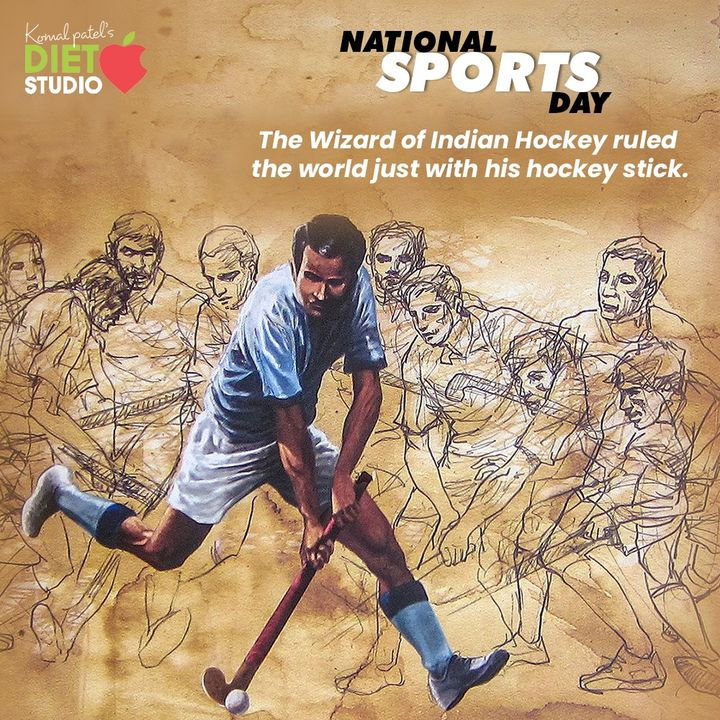 The Wizard of Indian Hockey ruled the world just with his hockey stick.  #NationalSportsDay #SportsDay #NationalSportsDay2020 #MajorDhyanChand #BirthAnniversary #komalpatel #diet #goodfood #eathealthy #goodhealth