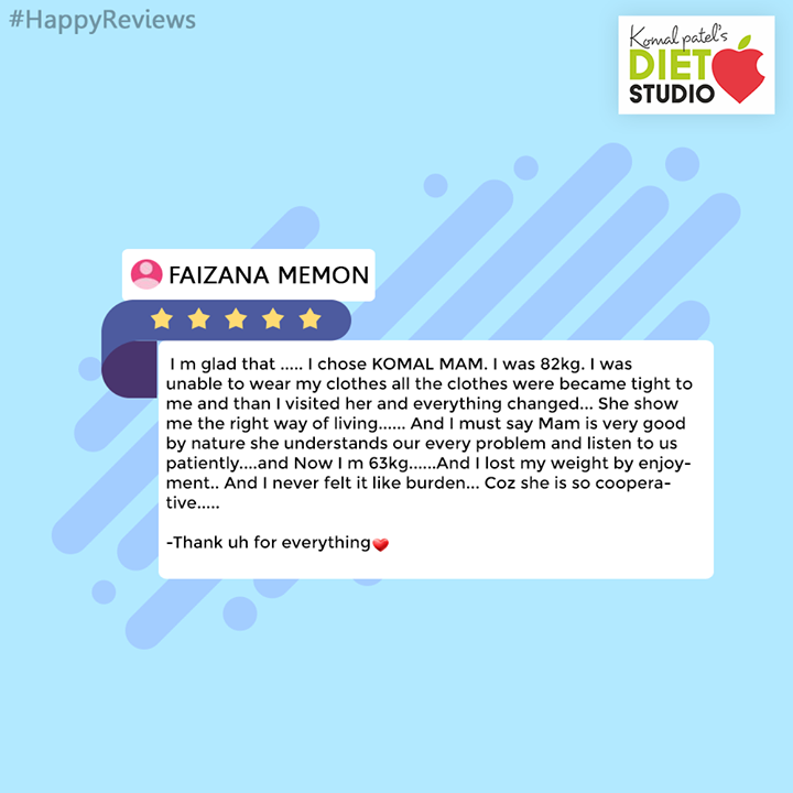 We are glad about your feedback!  #Feedback #komalpatel #diet #goodfood #eathealthy #goodhealth