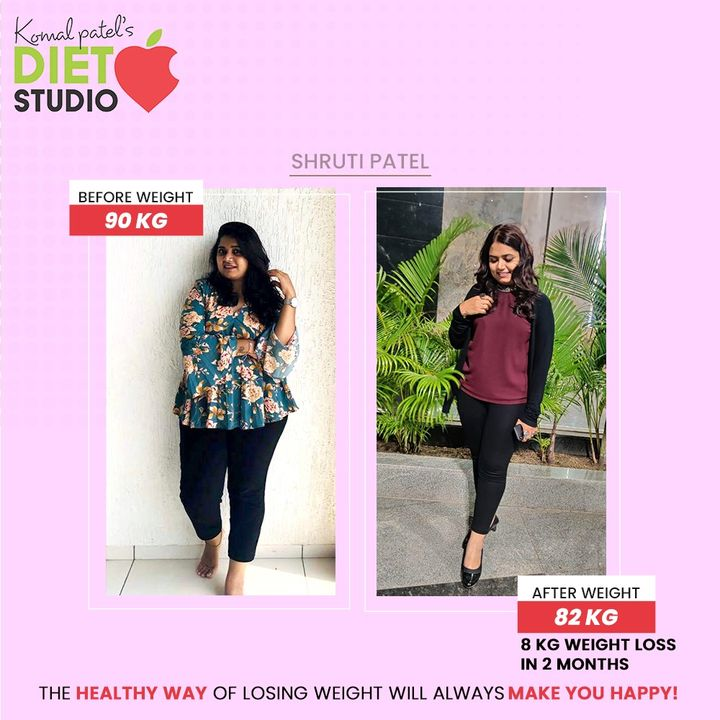 Looking for some real-life inspiration to get back to your health regime? Catch a glimpse of our beloved client Shruti Patel from Surat. She has lost 8 Kgs only in 2 months.  If she could, then you too can. But remember that the healthy way of losing weight will always make you happy!  Stay motivated and get the right kind of diet counselling done.  #KomalpPatel #Diet #GoodFood #EatHealthy #GoodHealth #DietPlan #DietConsultation