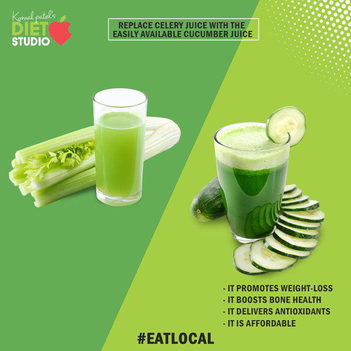 Save your time, effort, and energy; do not go or hunting celery because cucumber juice is a great alternative for celery juice.  Cucumber is easily available and hence its juice can be readily prepared. Moreover, the cost-effective and pocket-friendly cucumber juice too will help in promoting weight-loss, boosting bone health, and delivering antioxidants.  #EatLocal #CucumberJuice #KomalpPatel #Diet #GoodFood #EatHealthy #GoodHealth #DietPlan #DietConsultation