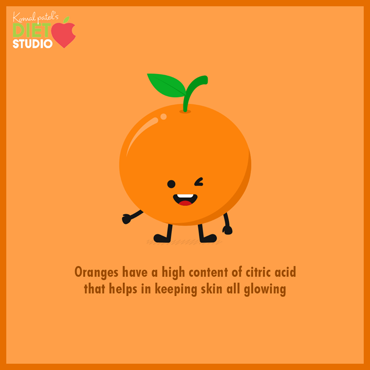Abundant amounts of Antioxidants & Vitamin C found in oranges help in slowing down the production of wrinkles and prevent premature aging. Its high content of citric acid aids in skin exfoliation and helps to dry out acne besides improving the overall look of the skin.  Keep your skin all glowing with the orange coloured citrus fruit.  #FoodGuide #HealthyFoodGuide #KomalpPatel #Diet #GoodFood #EatHealthy #GoodHealth #DietPlan #DietConsultation