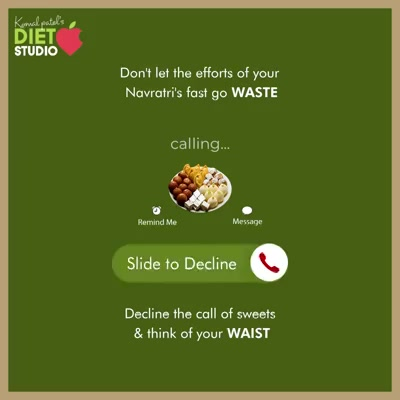 Short-lived are the gratification for sweets!  But the unwanted calories you consume just for temporary satisfaction can take a toll on your long time health regime and goals.  Don't let the efforts of your Navratri's fast go WASTE; Decline the call of sweets & think of your WAIST.  #KomalpPatel #Diet #GoodFood #EatHealthy #GoodHealth #DietPlan #DietConsultation