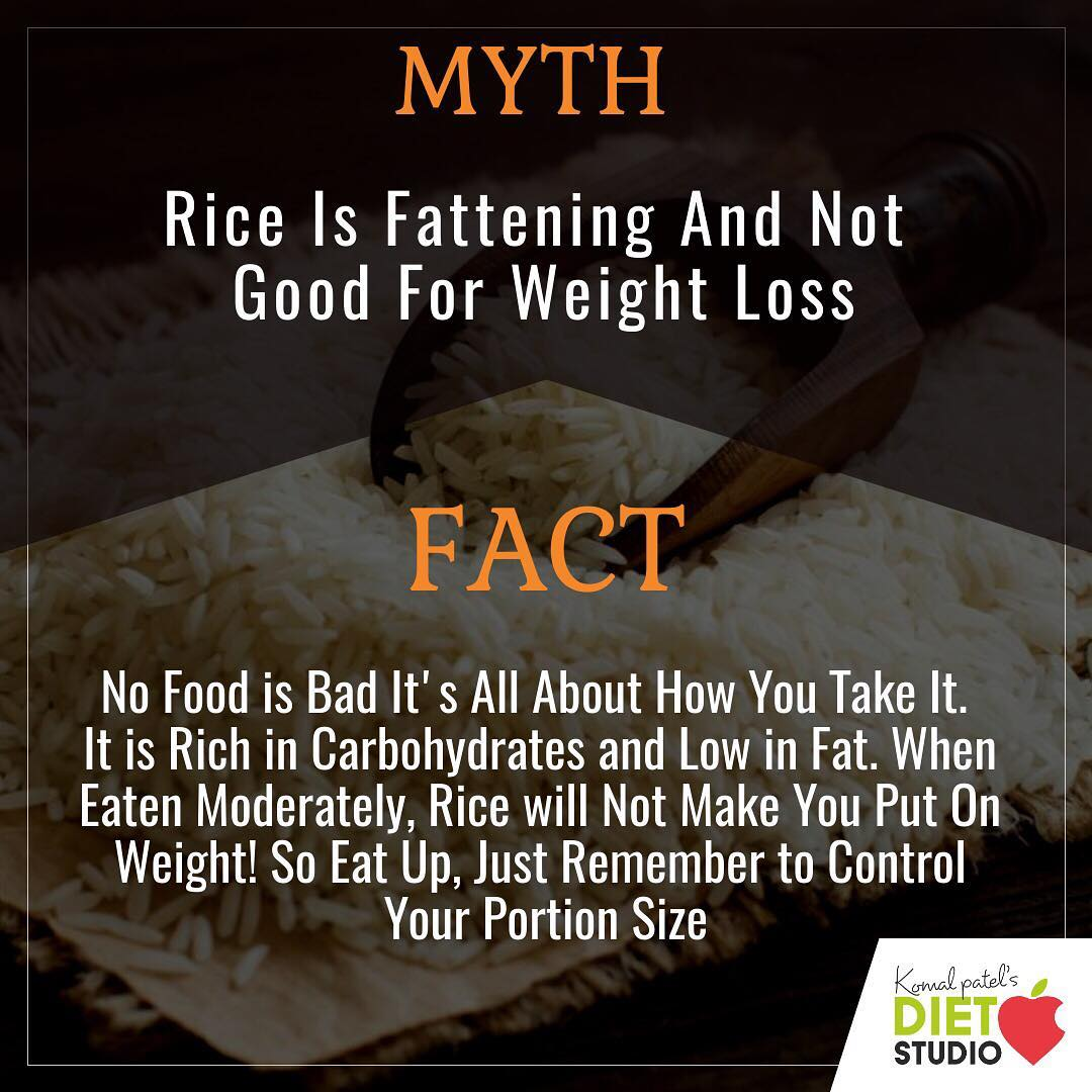 There are so many myths when it comes to rice? Do you avoid rice with the fear of gaining weight? Check out the fact... #myth #facts #rice #weightloss