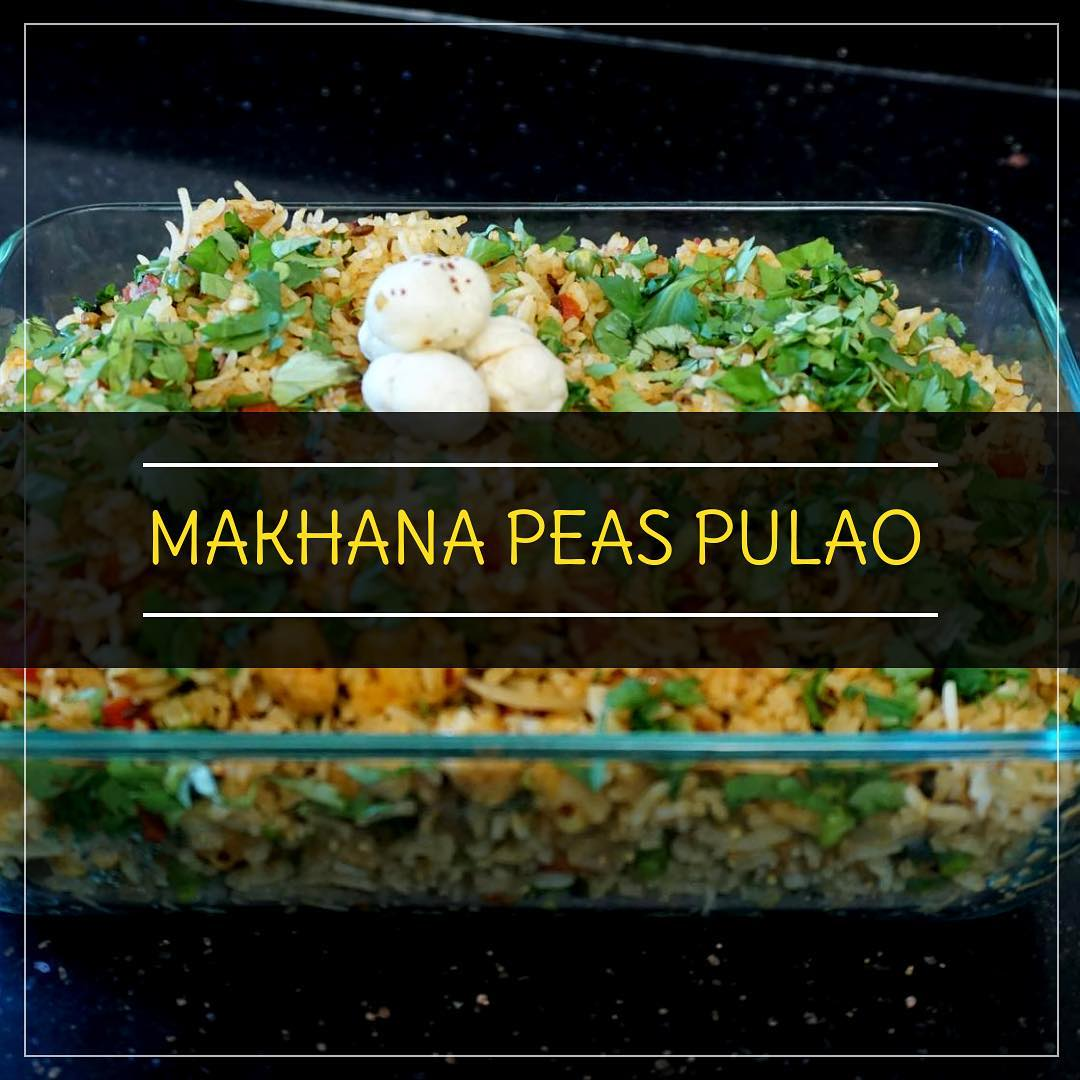 Makhana peas pulao is delicious and nutritious rice recipe with flavours of Indian spices. If rice is one of your favourite food this recipe is a complete balance for the meal. Makhana used in this recipe is considered as easily digestible and have a good nutritional content. The peas added to the pulao gives you that protein.  Makhana peas pulao can be served during lunch/dinner with raita or dal  #makhana #pulao #peas #makhanapulao