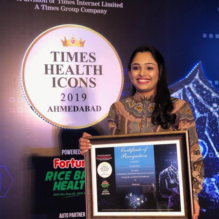 Humbled to be chosen as health icon of Ahmedabad And awarded as best dietitian. It inspires to work hard and with more responsibilities. #komalpatel #healthicon #bestdietitian #ahmedabad #dietclinic #diet #nutrionist #times #award