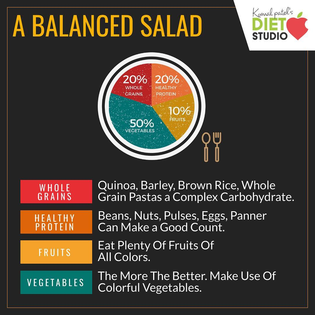 A large salad can be served as a meal all by itself.  All you require is to balance it with all the nutrients. #diet #healthyeating #eatingclean #cleaneating #health #healthyfood #food #recipes #healthyrecipes #fit #fitness #lifestyle #healthylifestyle #lifestylechange #goodfood #goodvibes #dietitian #komalpatel #nutrition #nutrionist #ahmedabad #dietclinic #weightmanagment #weightloss