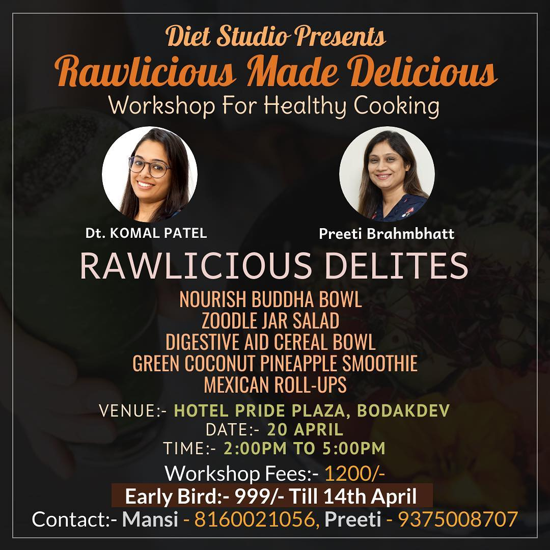 Glad to announce that we are coming up with a healthy workshop where you would learn creating a healthy recipes and break the noution that healthy is boring.  If interested plz fill in the form in link below  https://forms.gle/8ZxGTHu9V57KvcL69  #workshop #healthycooking #healthyrecipes #health #cookingclasses #komalpatel #dietrecipes #weightlossrecipes #diet #balanceddiet