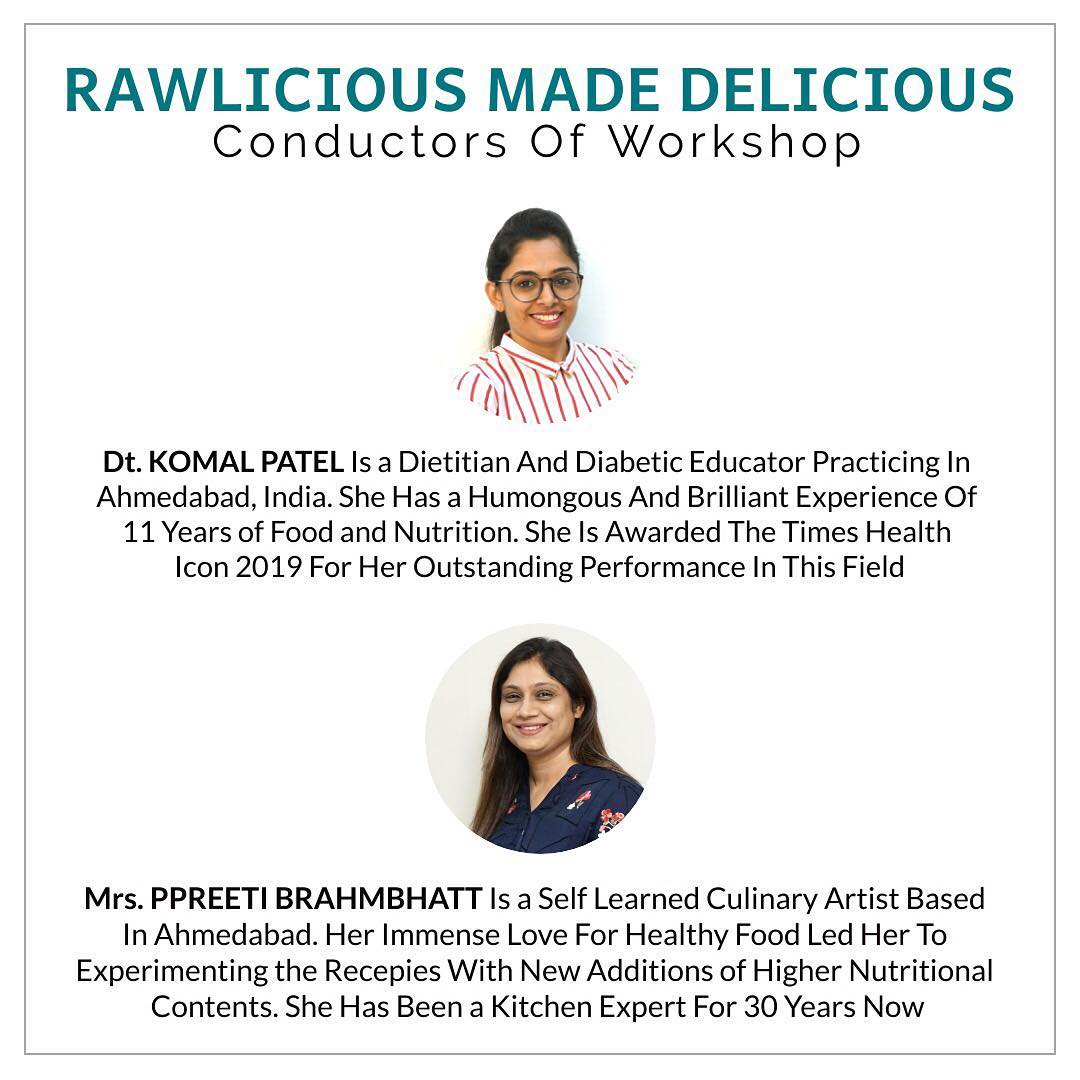 Rawlicious made delicious is a healthy cooking workshop.  This idea is aimed to learn healthy balanced diets to be consumed in your daily life. #diet #healthyeating #eatingclean #cleaneating #health #healthyfood #food #recipes #healthyrecipes #fit #fitness #lifestyle #healthylifestyle #lifestylechange #goodfood #goodvibes #dietitian #komalpatel #nutrition #nutrionist #ahmedabad #dietclinic #weightmanagment #weightloss